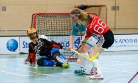Floorball ist ein torreiches Spiel, hier geht es zwischen den Damen aus Augsburg/Nürnberg und München zur Sache. Doch welche Torgröße ist für die jüngeren Altersklassen die richtige? (Quelle: Finkenzeller)